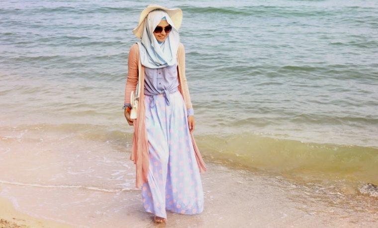 ootd hijaber ke pantai style gamis