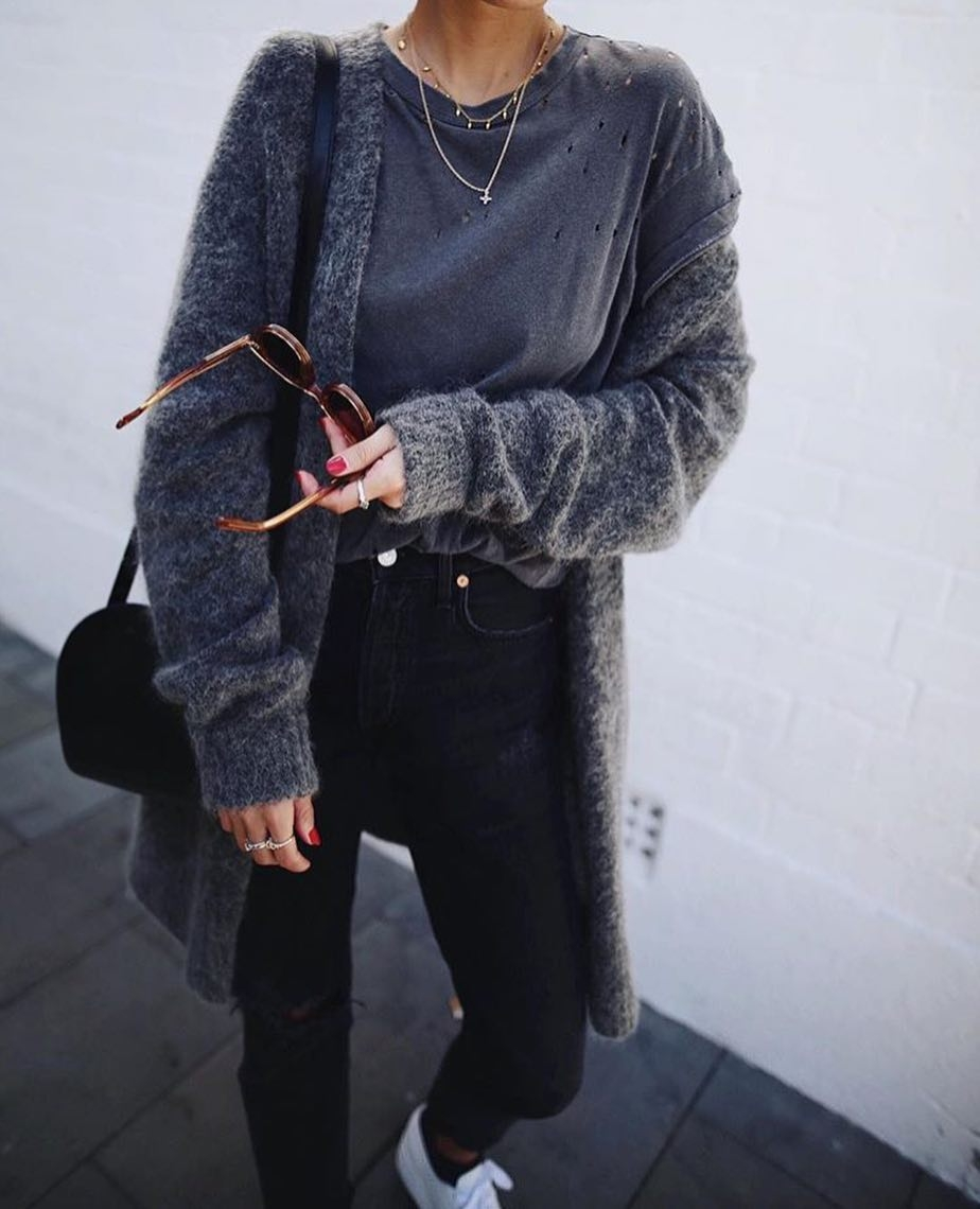 ootd mohair cardigan with black skinnies and white