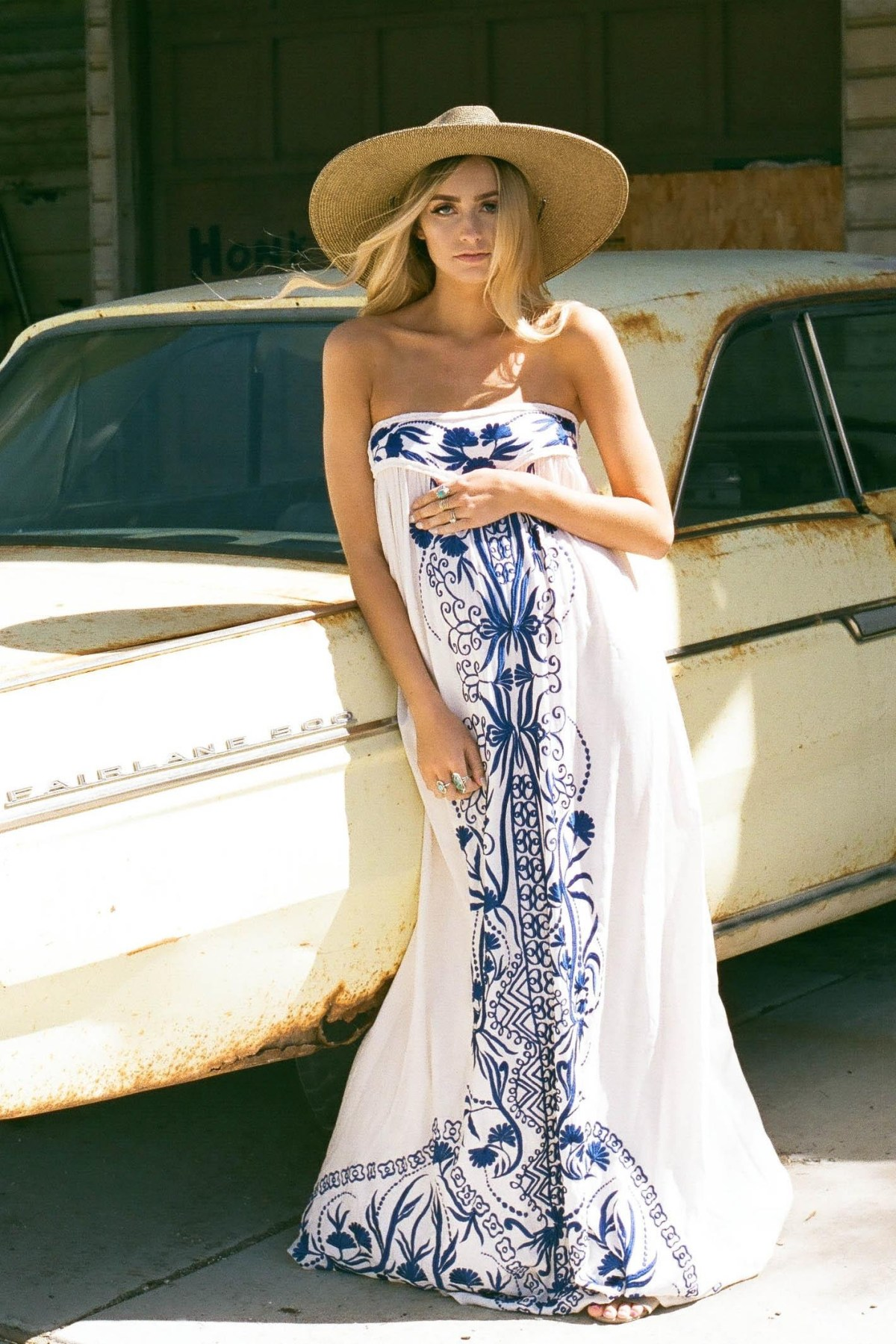 papillon embroidered strapless maternity maxi dress