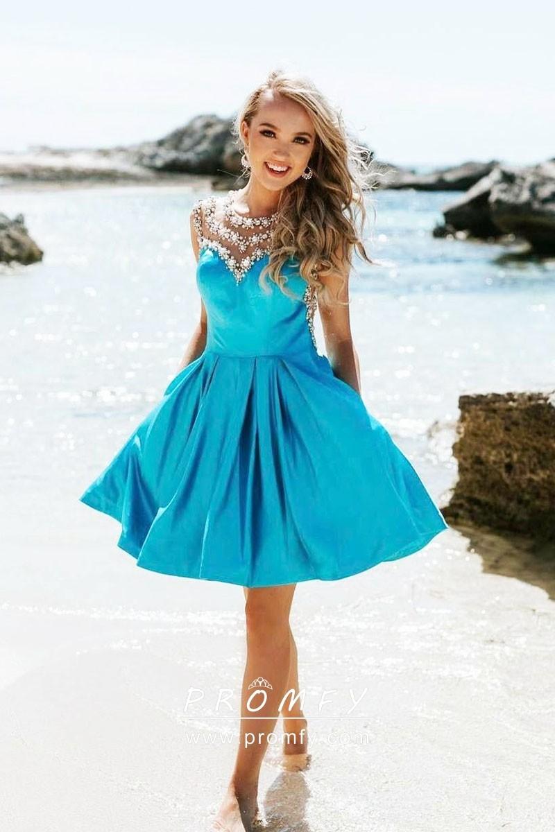 sparkly beaded pool blue satin short cocktail dress promfy