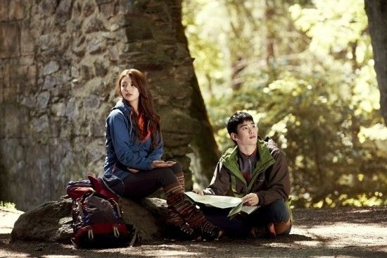 suzy and kim soo hyun hold hands in the woods for bean