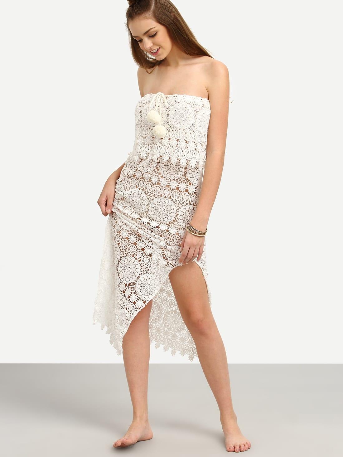 white crochet strapless split beach dress with pom pomfor