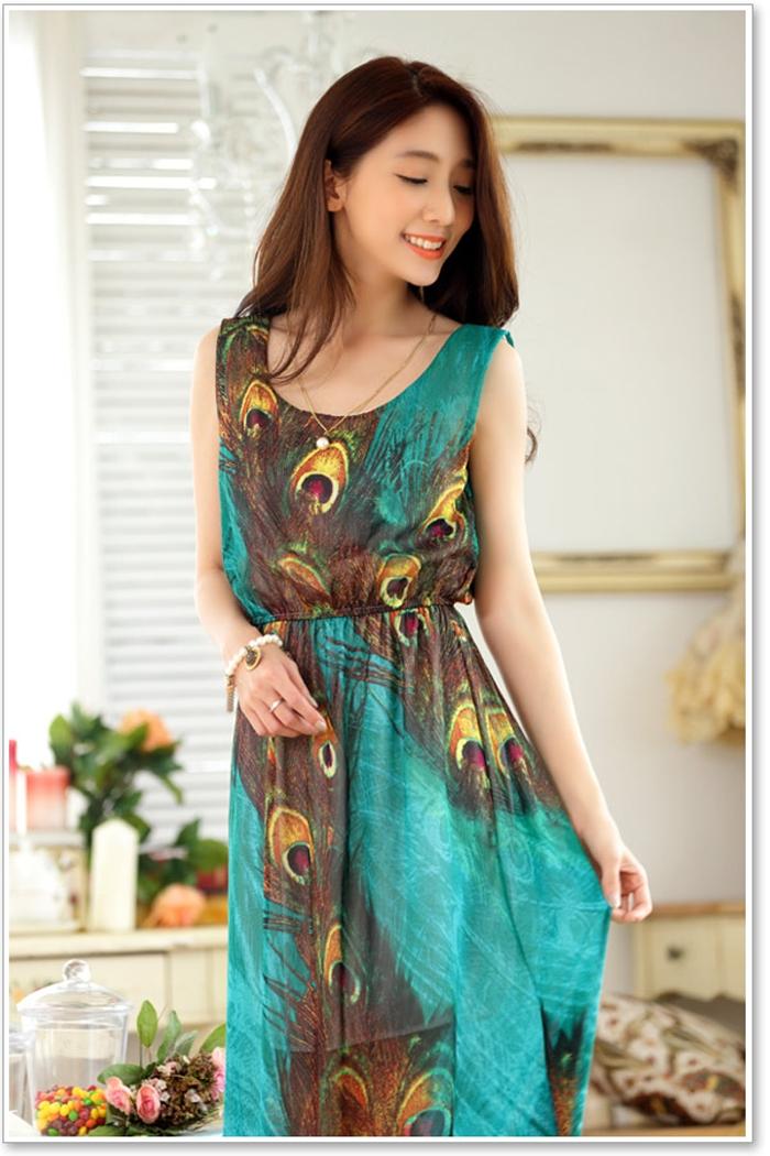 wholesale women peacock printed chffion beach dress k9946