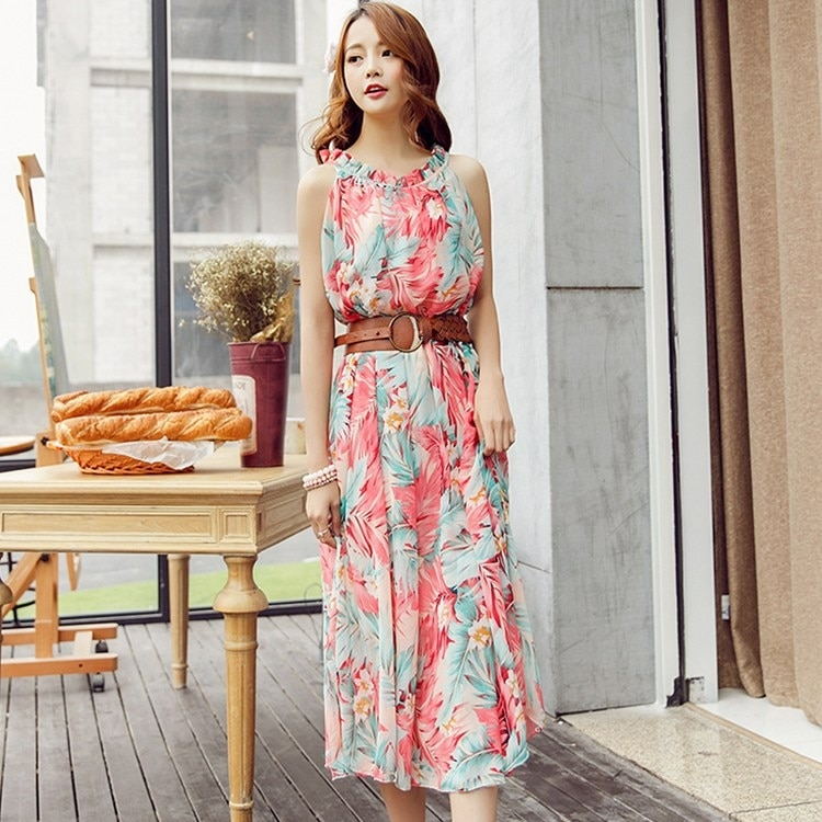 women summer beach dress bohemia chiffon long design