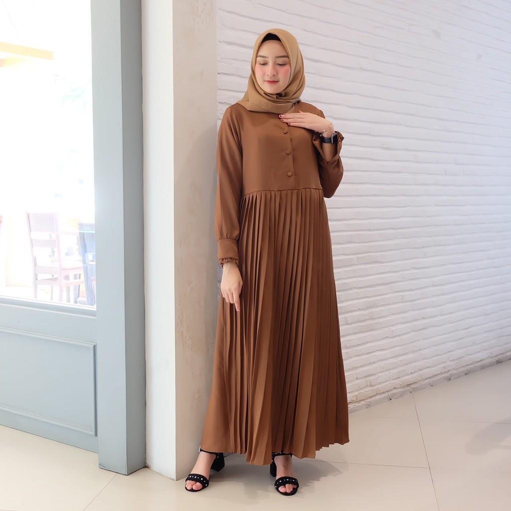 baju gamis kondangan kekinian jilbab voal