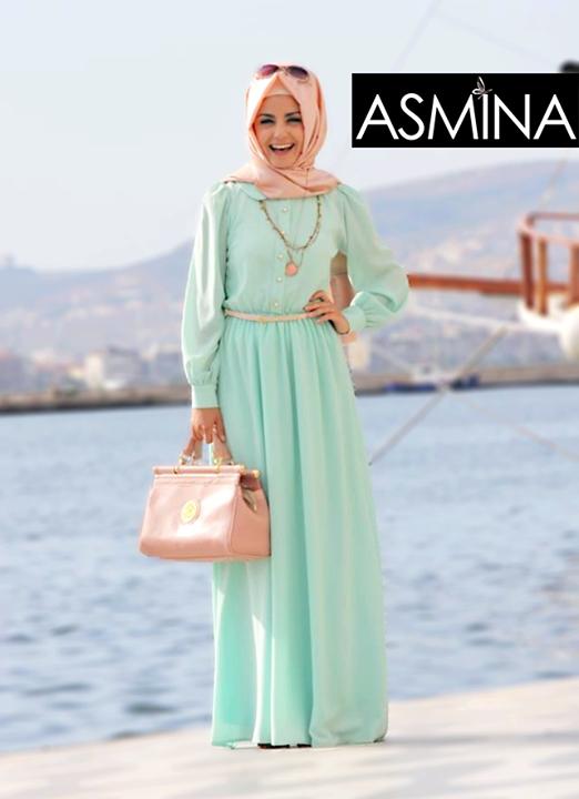 beautiful mint pink outfit abaya hijab fashion