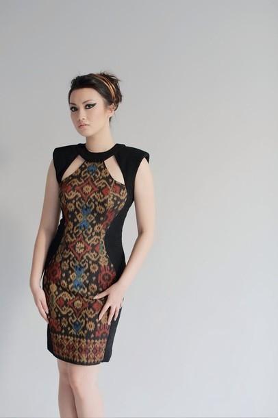 dress black batik ikat soka summer dress mini dress