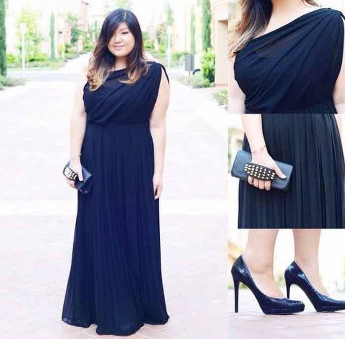 model baju long dress untuk wanita gemuk seputar model