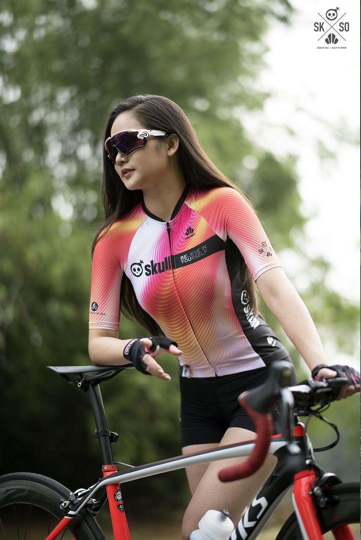 skull woman cycling jersey gadis bersepeda wanita