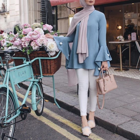 trend color pastel hijab outfit ideas modest fashion