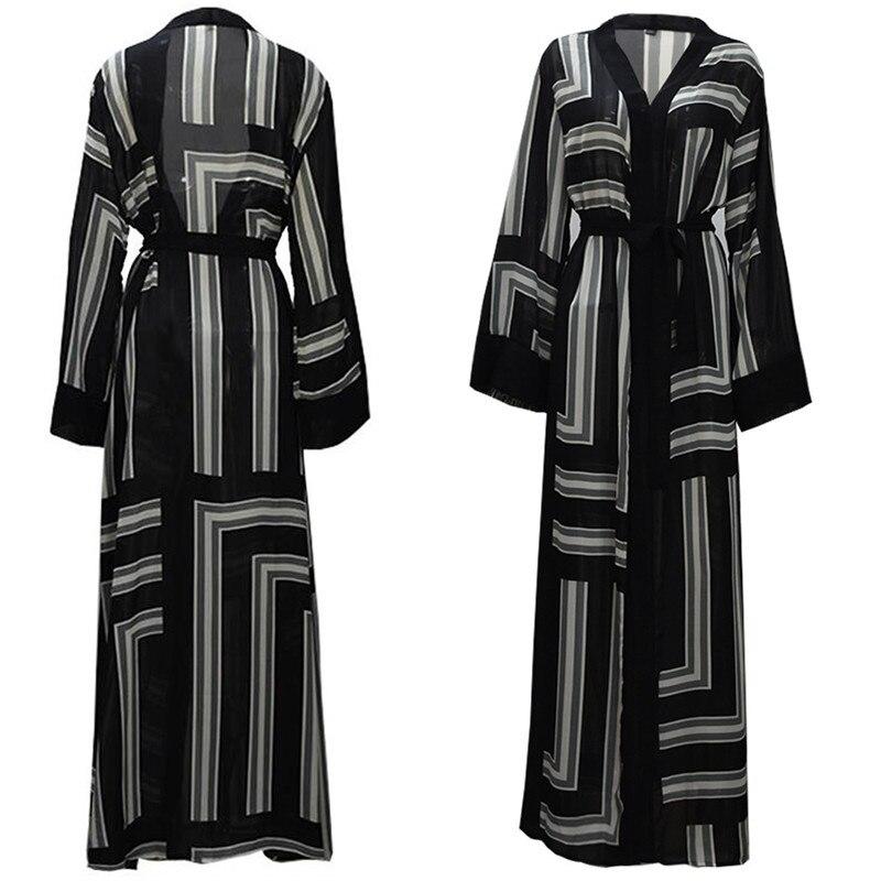 2019 uae abaya dubai striped kimono cardigan maxi muslim