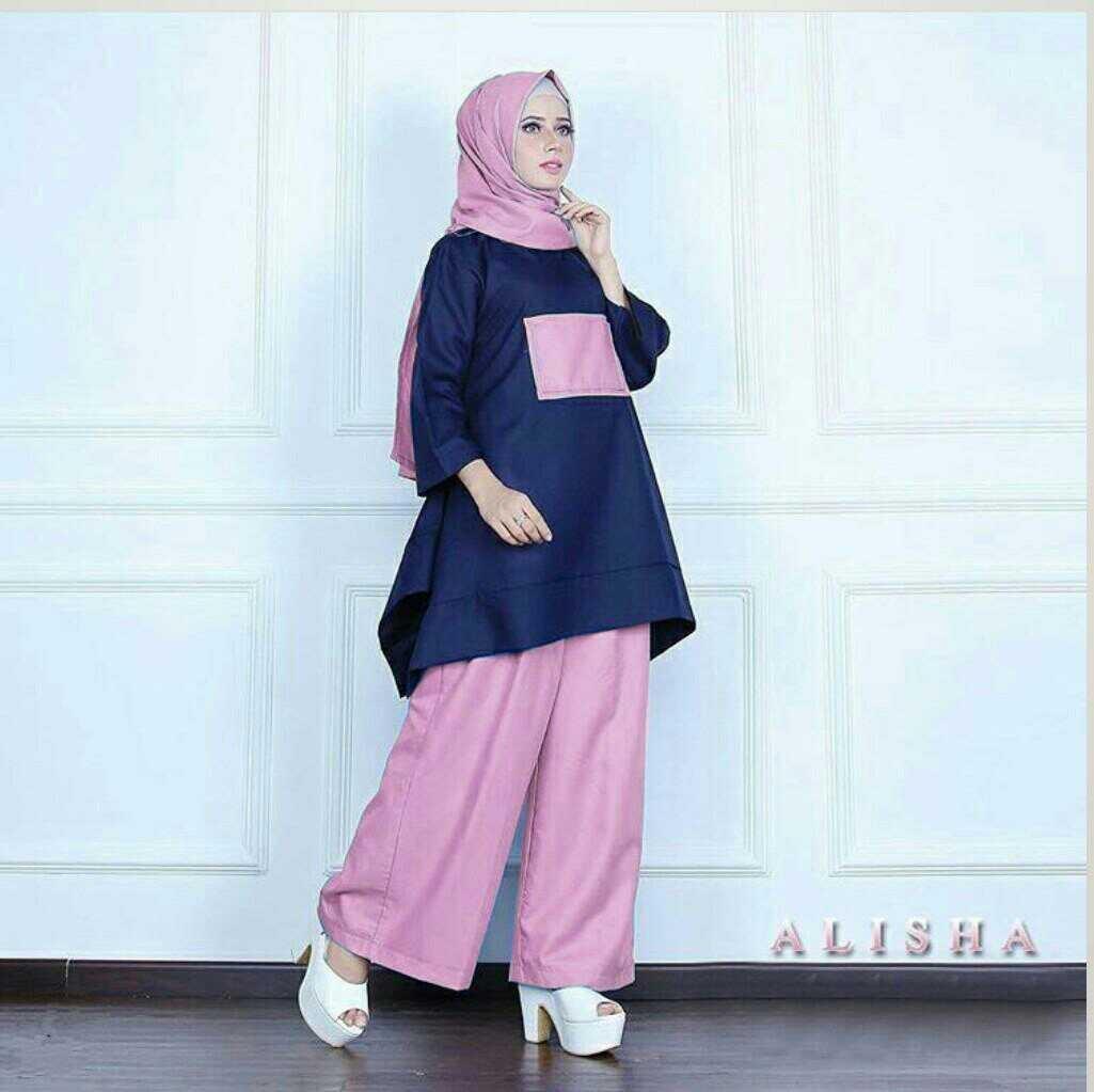 baju setelan hijab modis 3 in 1 terkini modern model
