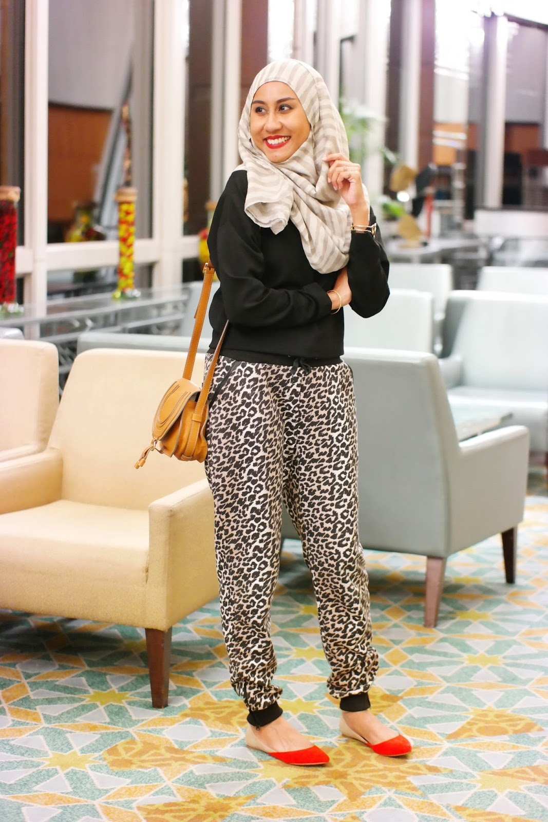 birthday dinner in leopard joggers affordorable