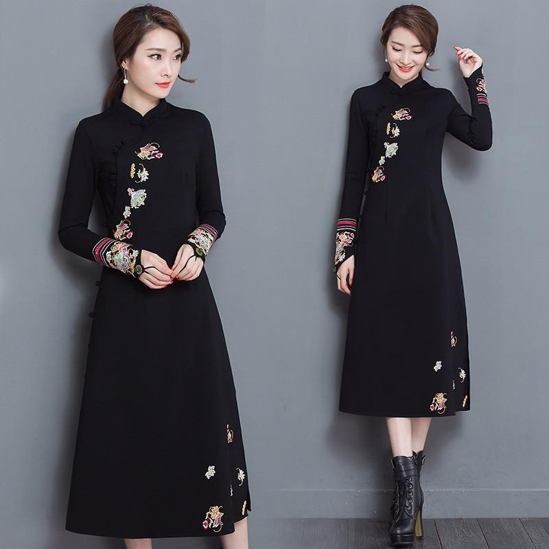 black mixed fabric cotton embroidered modern cheongsam