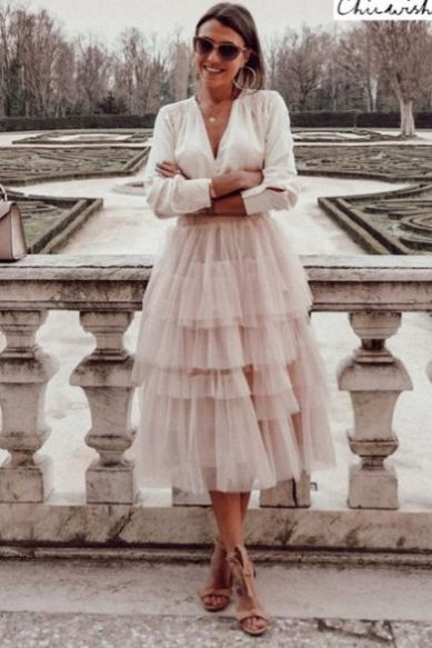 chic casual tulle dresschic two pieces white shirt tulle