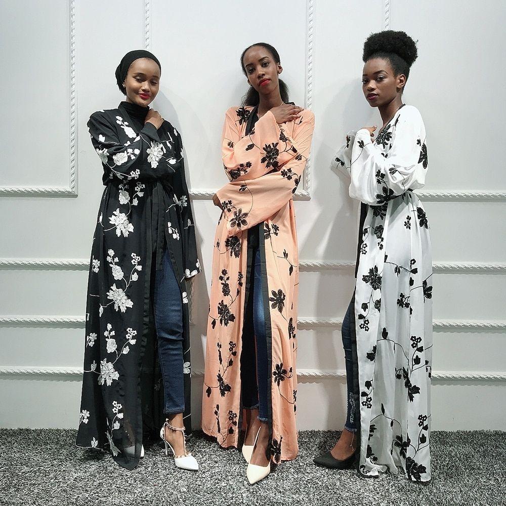 chiffon abaya kimono hijab muslim dress women african