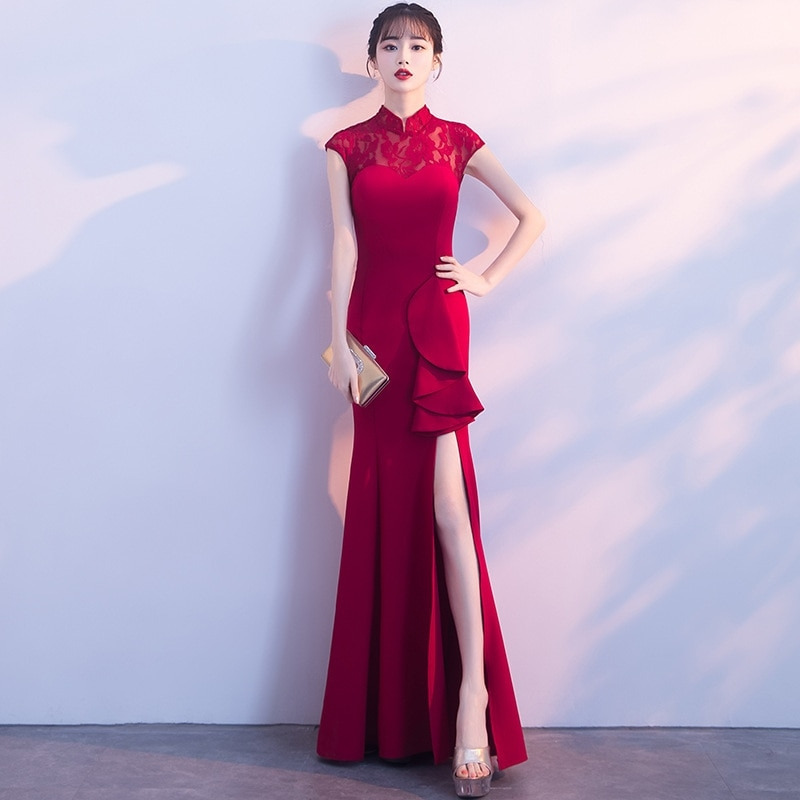 chinese traditional wedding dress modern cheongsam sexy