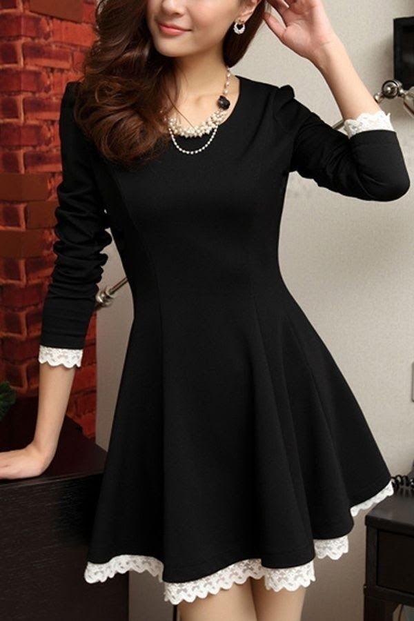 dress little black dress bw long sleeve dress asian
