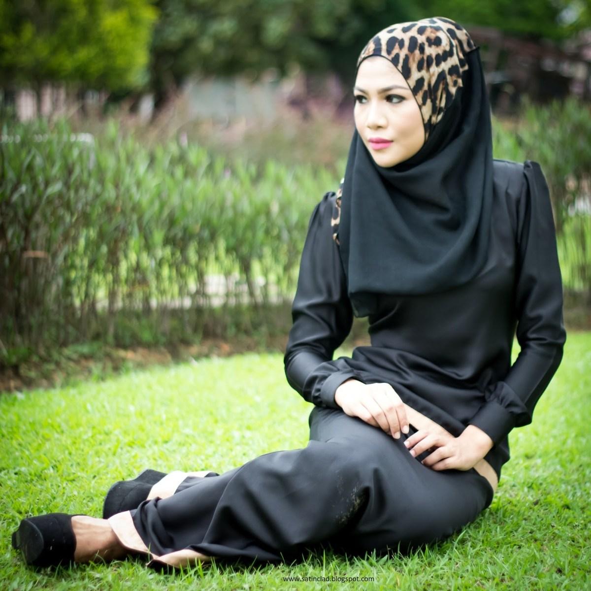 dress muslimah hitam satin 817 malaysian baju kurung