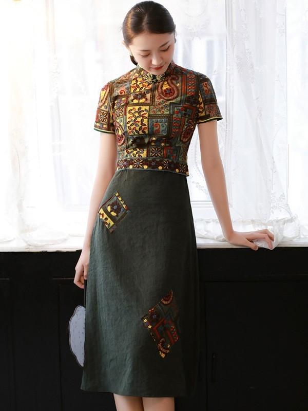 green embroidered midi modern qipao cheongsam dress