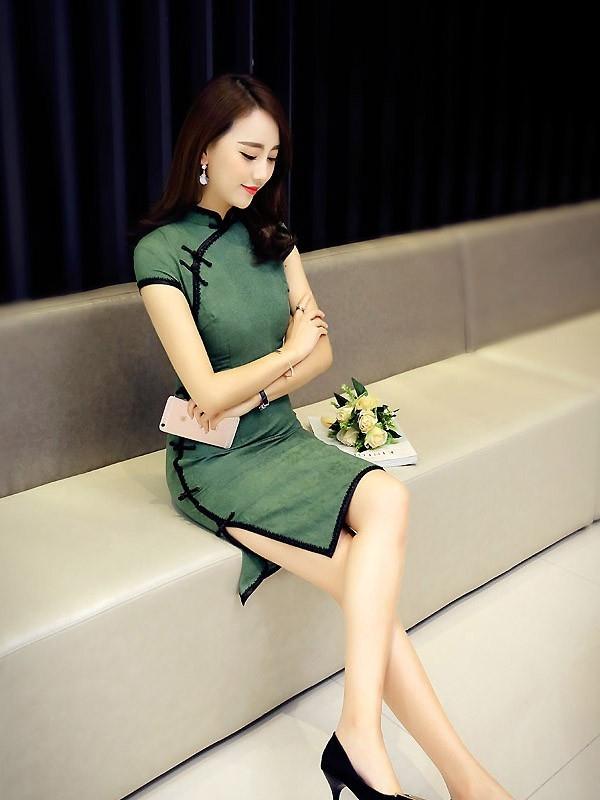 green linen modern qipao cheongsam dress cozyladywear