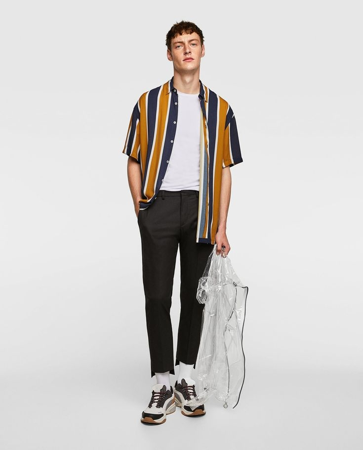 image 1 of flowing shirt with vertical stripes from zara