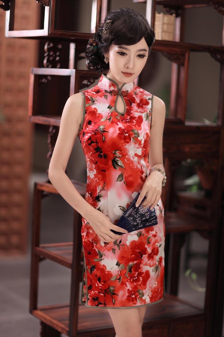 impressive modern sleeveless silk cheongsam dress qipao