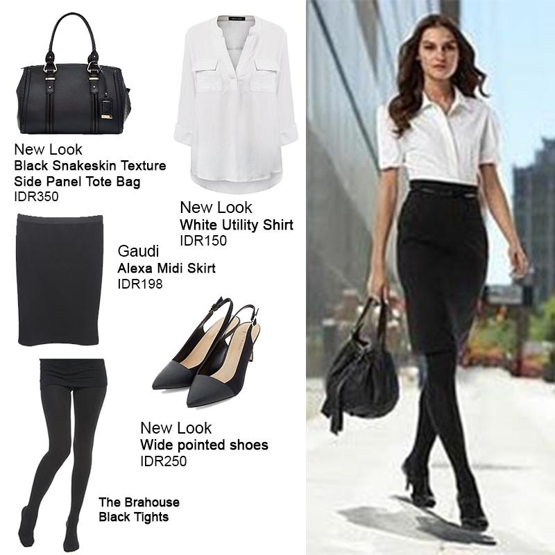 kombinasi black white untuk gaya ke kantor