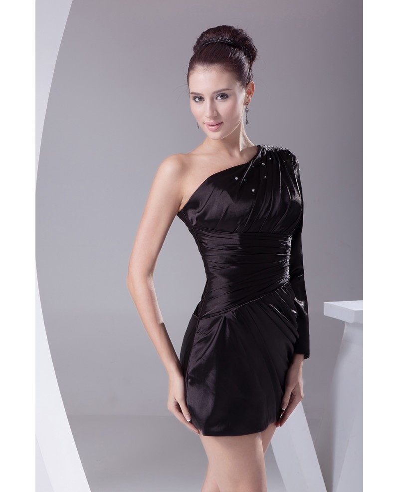 little black one long sleeve pleated mini short party