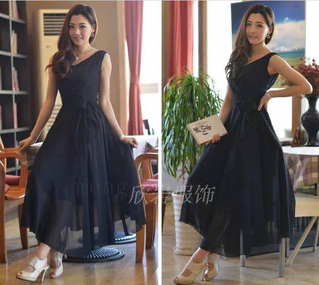 long dress hitam lengan buntung terbaru model terbaru