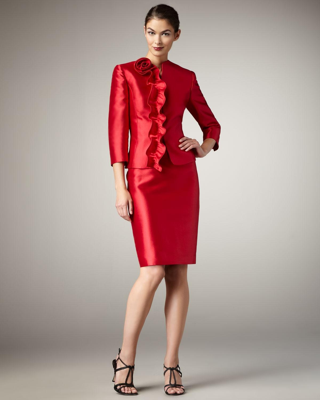 lyst tahari rosette detailed taffeta suit in red