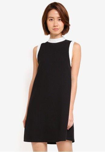 mini dress bernuansa monokrom warna hitam kerah stand