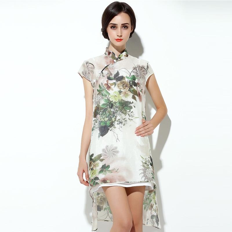 modern floral print silk qipao cheongsam dress qipao