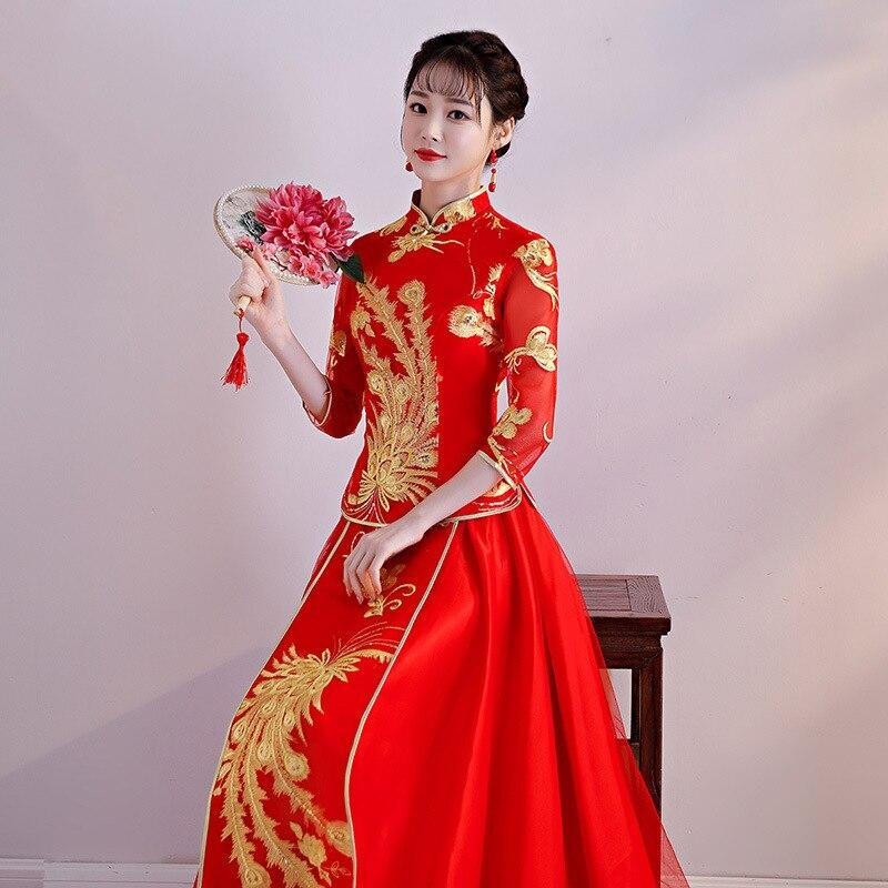 new arrival cheongsam embroidery qipao women dress evening