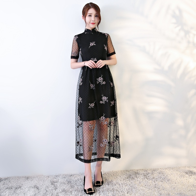 party modern asian style embroidery qipao black lace dress