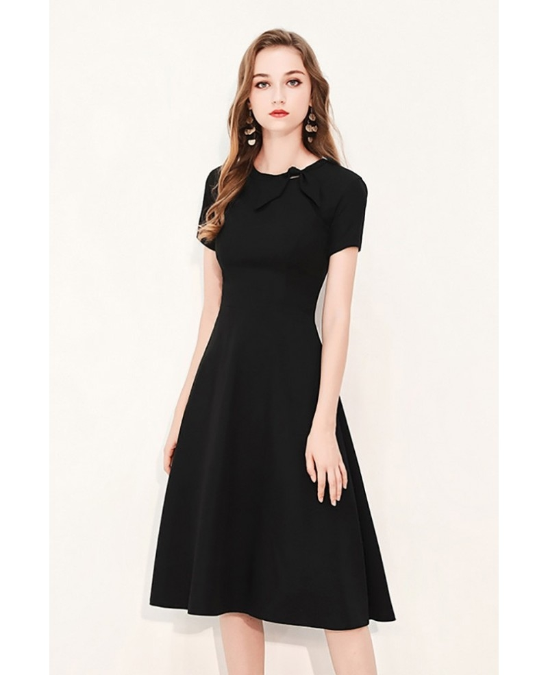 retro black knee length party dress with short sleeves
