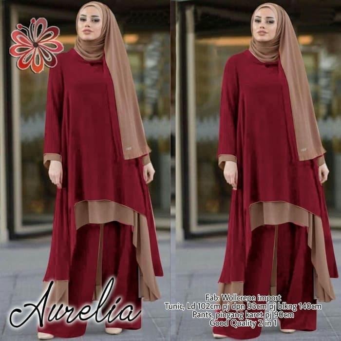 setelan baju tunik dan celana panjang muslim ryn fashion