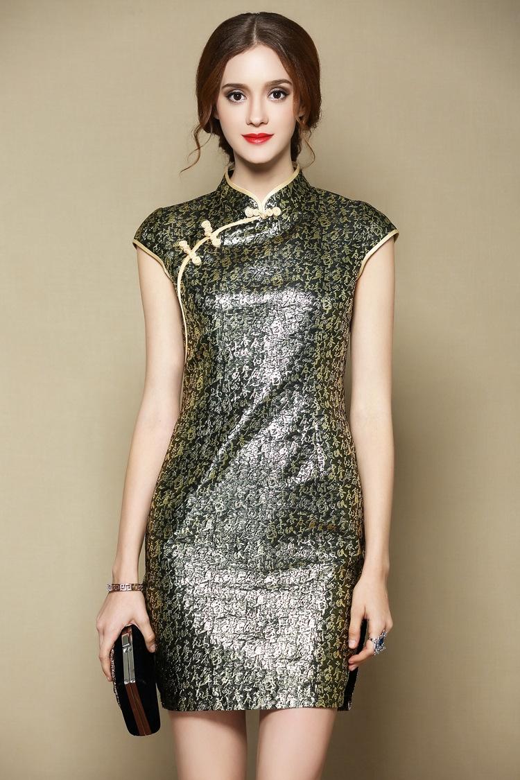 sexy modern brocade short cheongsam qipao dress qipao