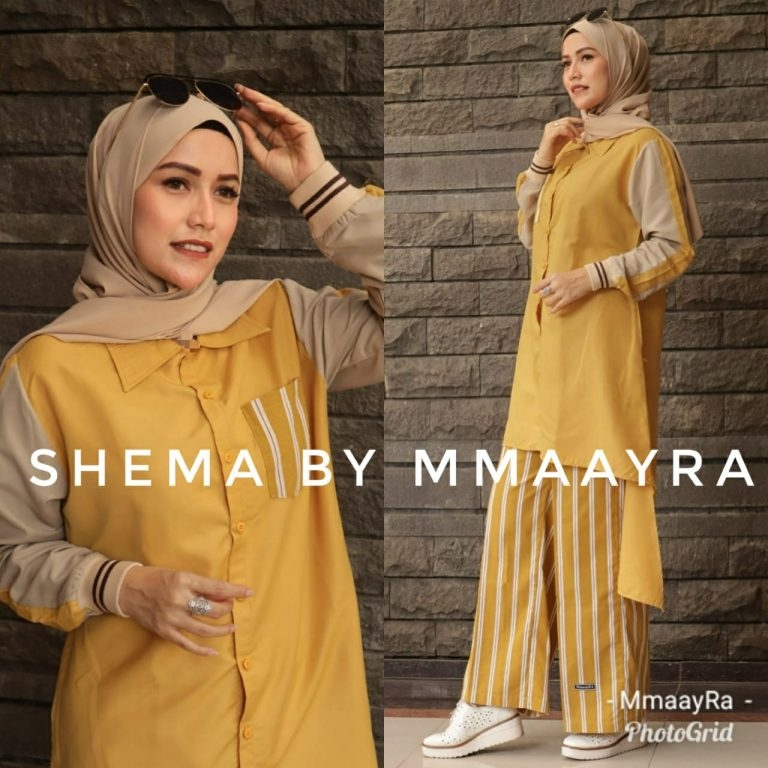 shema setelan kulot warna kubus baju muslim gamis modern