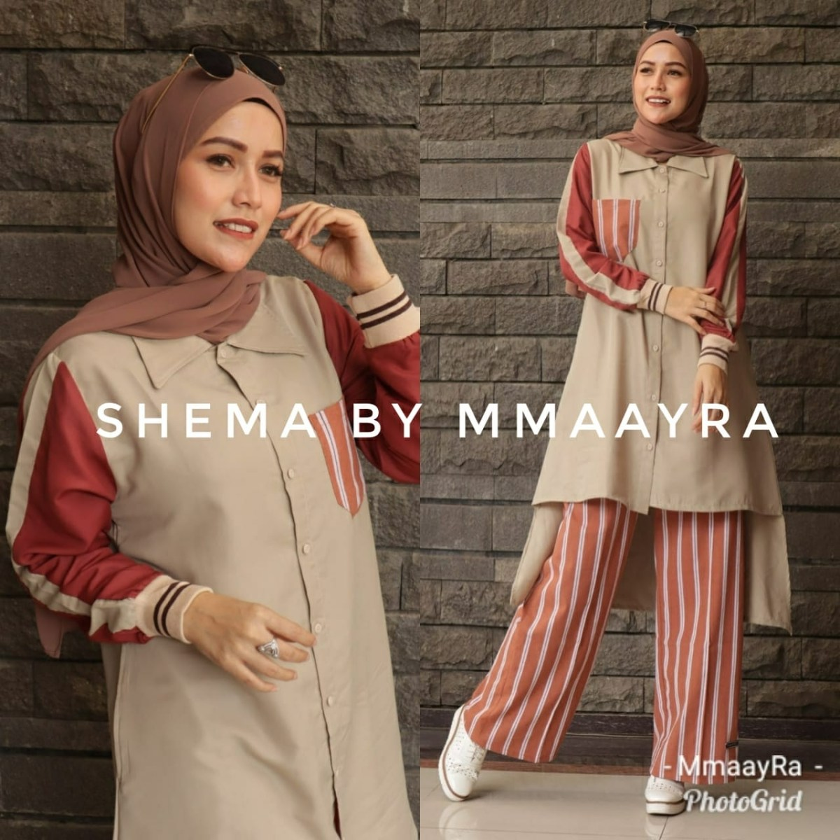 shema setelan kulot warna merah bata baju muslim gamis