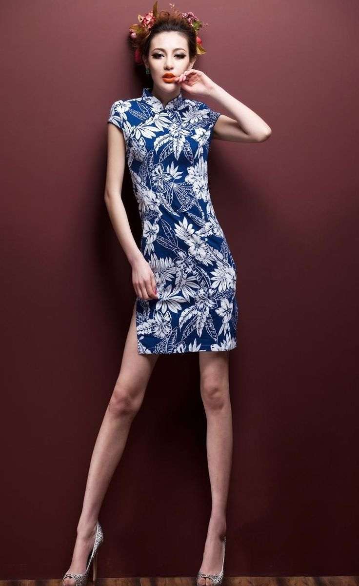 short blue modern chinese dress or cheongsam or qipao