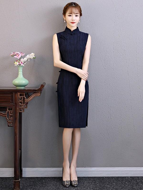 sleeveless linen midi modern qipao cheongsam dress