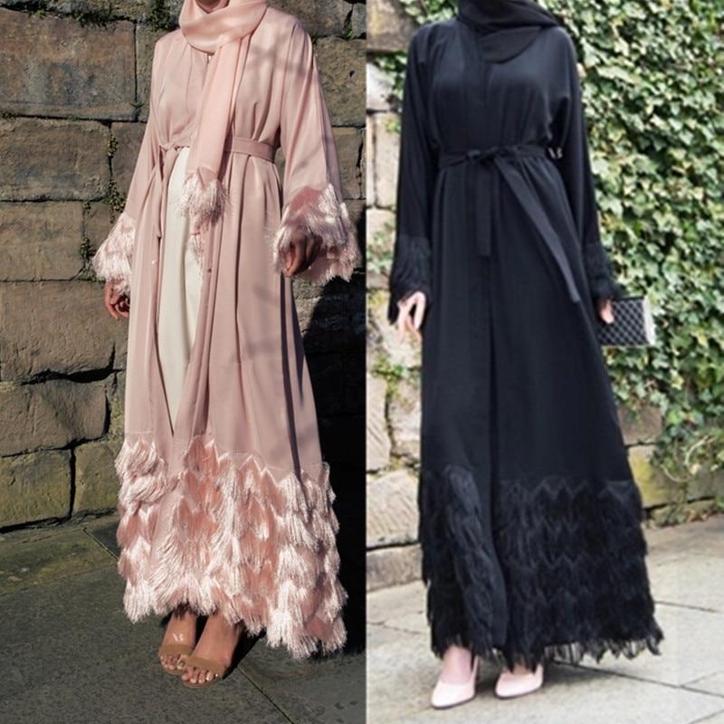 tassel kaftan dubai abaya kimono robe muslim hijab dress