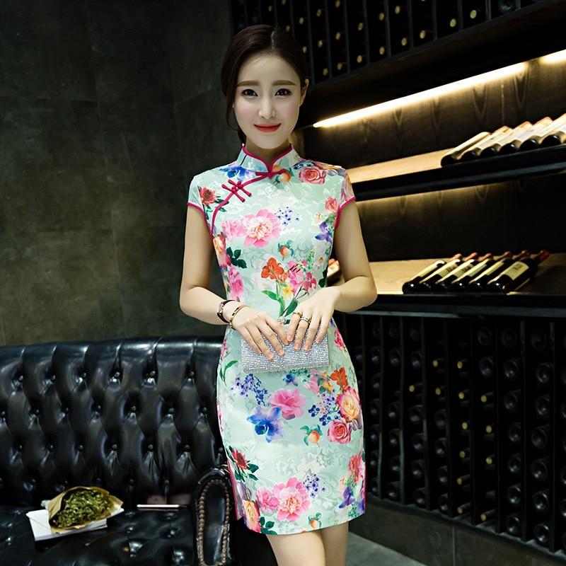 traditional chinese dress qipao short cheongsam mini women