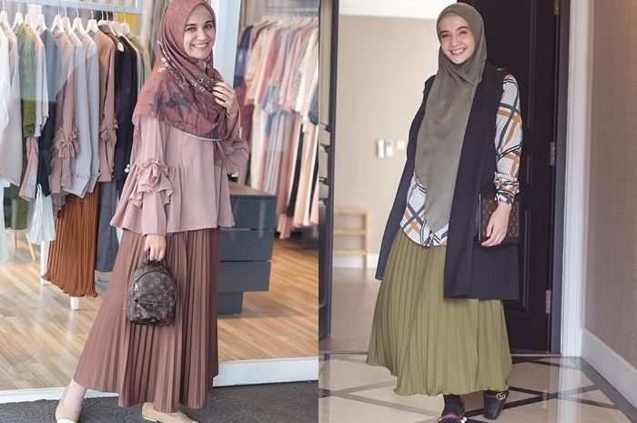 tren baju lebaran 2019 modis dengan rok plisket hijab ala