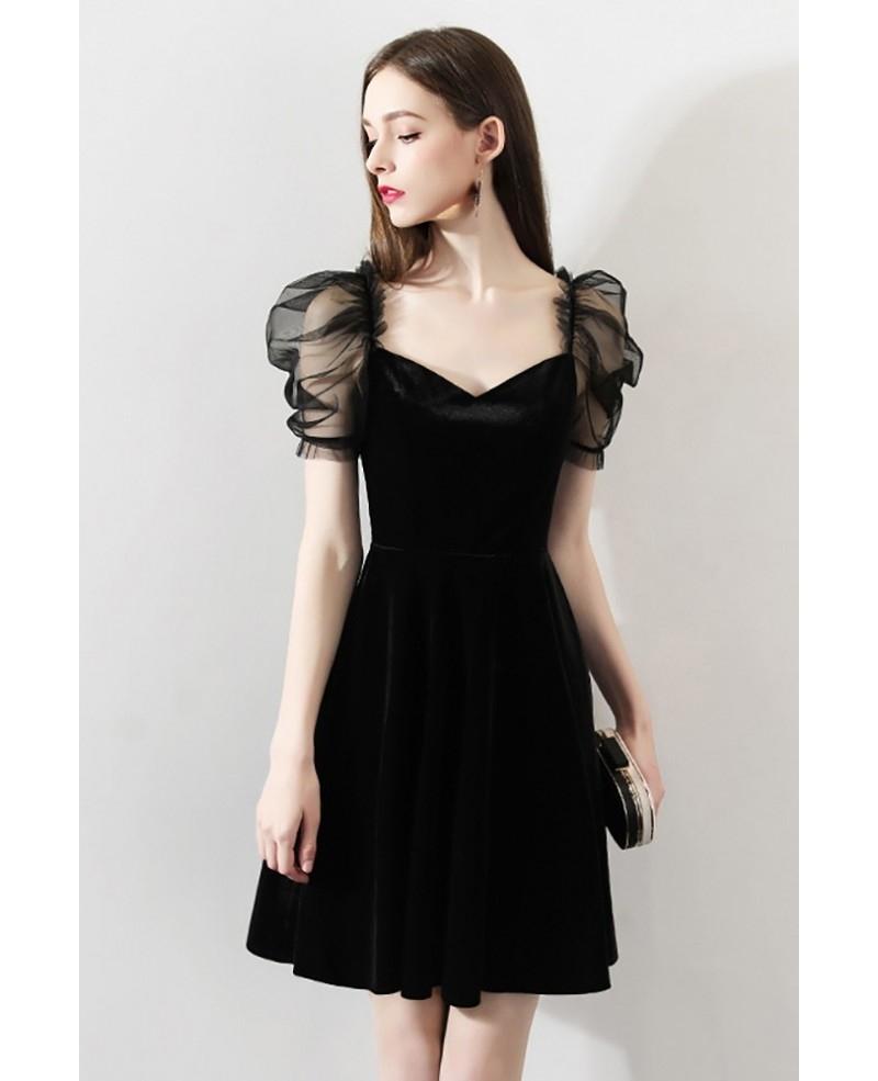 unique black bubble sleeve little black party dress