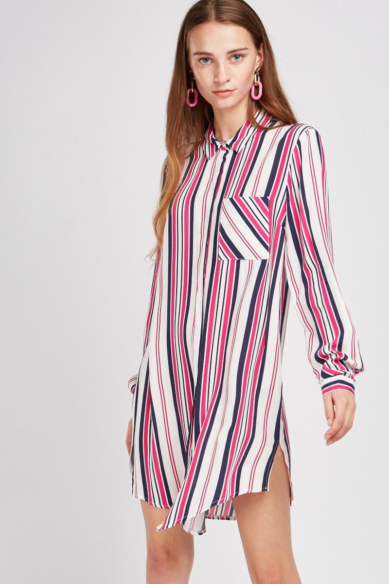 vertical stripe long line shirt dress just 7