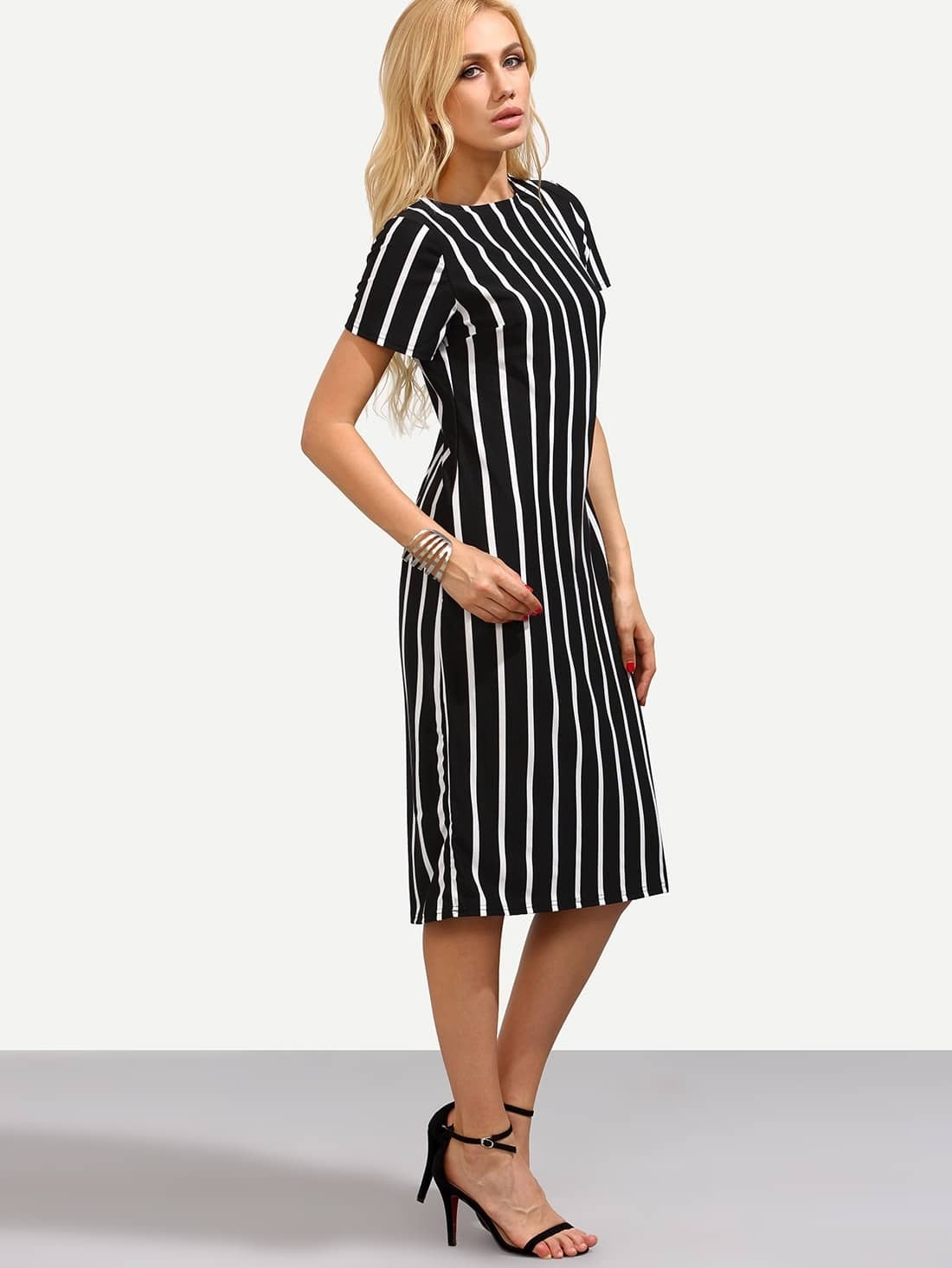 vertical striped skinny dress shein usa
