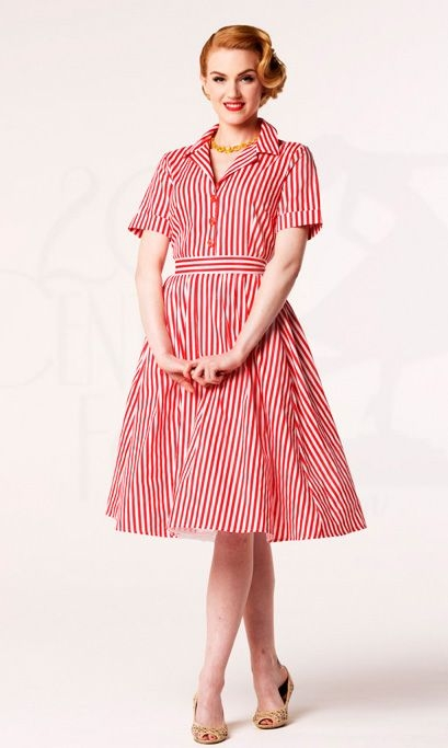 vintage red and white vertical stripes turn down collar