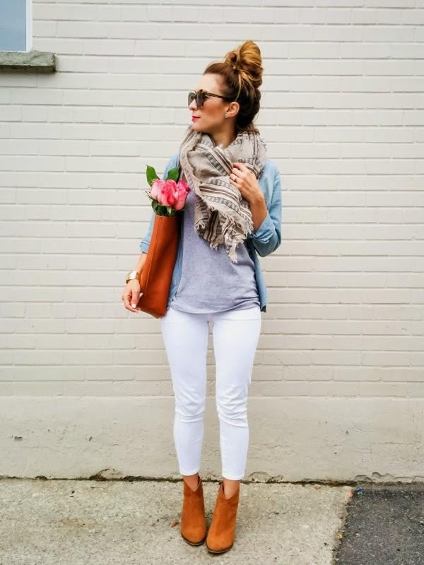 white denim for fall aritzia blanket scarf ootd 5 an